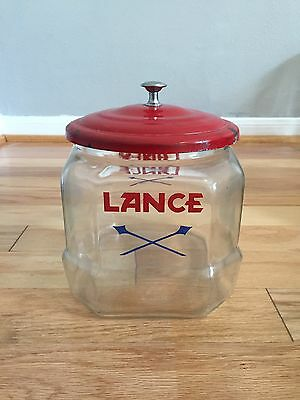 Vintage Lance Glass 8 Sided Counter Top Country Store Jar With Red Lid 8""