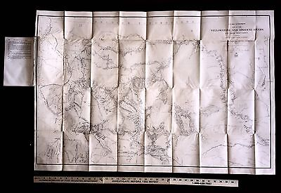 Rare 1867 Huge Map of Yellowstone, To Accompany Raynold's 1868 Report