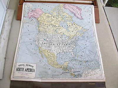Crams North America Map And Map Of Europe In Old School Pull Down Box 1920's