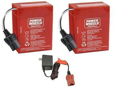 00801-0712 2 x 6 Volt Red Batteries Plus Charger Combo Power Wheels Battery