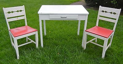 .vintage Porcelain Kitchen Table & Two (2) Original Chairs
