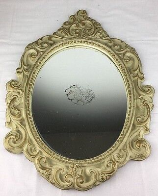 Vtg Syroco Like Ornate Standing Hanging Oval Mirror Off White/Gold 21x16/13x10