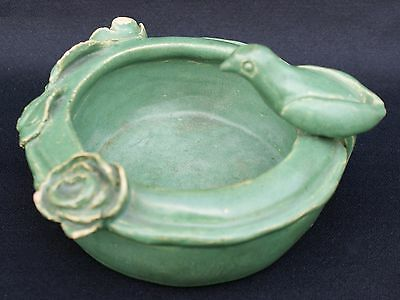 Denver CO M.T.H.S. Dtd 1920 Matte Green Bird & Floral Handcrafted Pottery Bowl