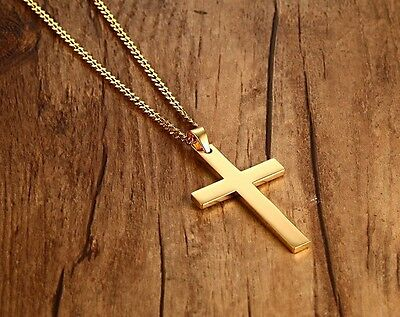 Men's Stainless Steel Simple Plain Cross Gold Pendant Necklace with 60cm Chain
