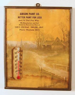 Vintage GIBSON PAINT CO. 12th St., Oakland, Ca. Framed Advertising Thermometer