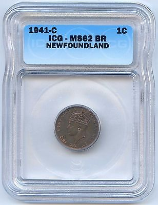 High Grade 1941 C Newfoundland 1 Cent ICG Graded MS 62 BR. Lot #2454