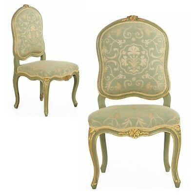 Pair of French Antique Side Chairs in Louis XV style, Green Paint, 19th Century