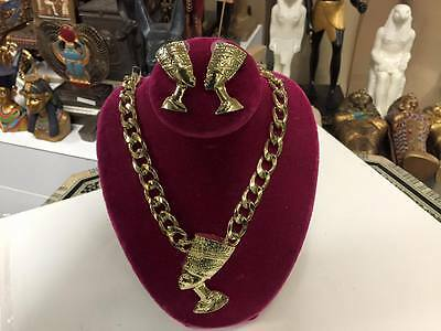Vintage Egyptian Queen Nefertiti Necklace Set Gold Plating Made In Egypt