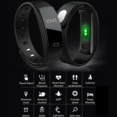 QS80 Bluetooth Smart Watch Heart Rate Blood Pressure Monitor Tracker Bracelet
