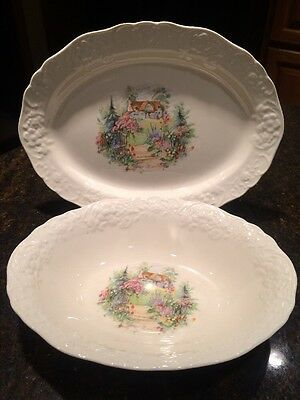 Edwin M. Knowles China Oval Serving Bowl & Platter Flowers Garden House on Hill