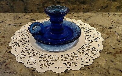 Repro Cobalt Blue Heisey Glass Candlestick  Holder With Finger Loop