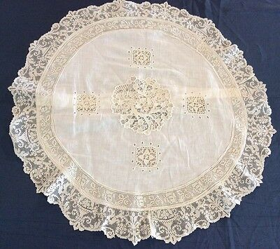 Wonderful Antique Fine Cotton & Lace Round Pillow Case Filet And Needle Lace