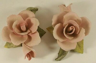 Lot of (2) Napolean Capodimonte Porcelain Pink Rose Italy