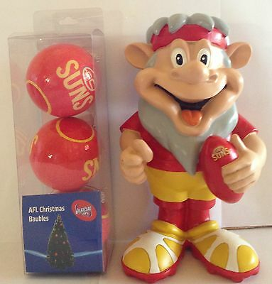 Afl Gold Coast Suns Supporter Pack - Garden Gnome, Xmas Baubles,