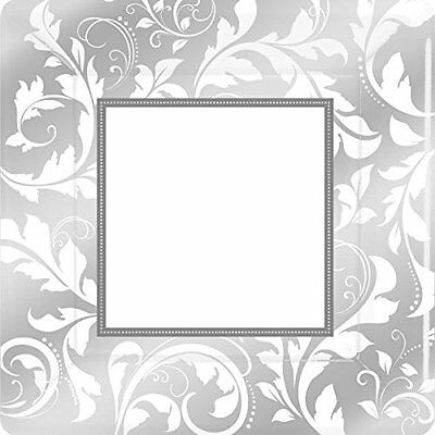 Amscan 10-inch Plate Square, Silver