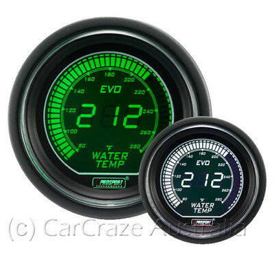 Prosport Evo Electrical Water Temperature Gauge 52mm White/Green EVOWGWT.C