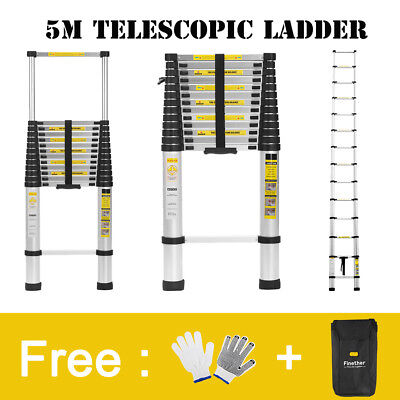 5M Multi Purpose Aluminum Telescopic Ladder Extendable Steps w/Free Bag+Gloves A