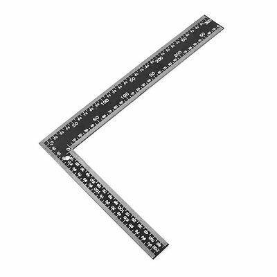SS Teacher 0-30cm 0-20cm Measuring Range L Shaped Design Square Ruler Black