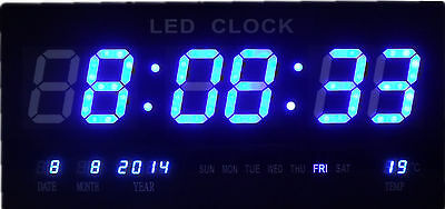 Gorgeous Blue LED Digital Wall Clock with Date Temperature Alarm Clock