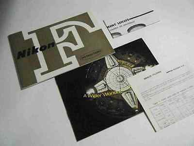 Nikon F 1968 Camera Instruction Book, (Manual And User's Guide), More