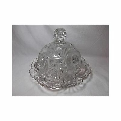 Vintage Pressed Glass DOMED BUTTER DISH lid cheese serving Scalloped cane leaf