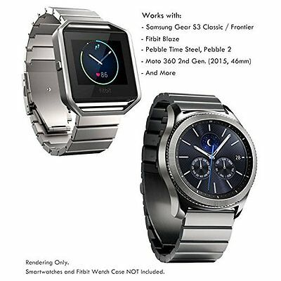 Stainless Steel Band Gear S3 Frontier Fitbit Blaze Huawei Watch 2 Classic SILVER