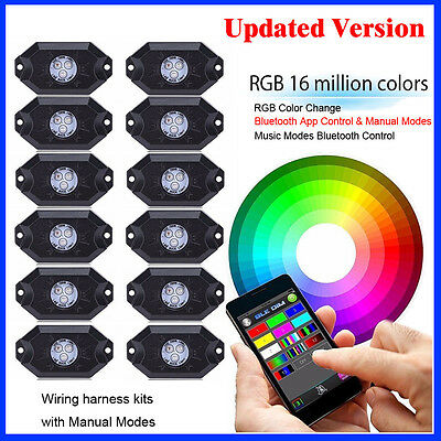 12Pcs RGB LED Rock Lights Wireless Bluetooth Music Flashing Multi Color Offroad