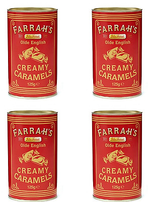 911309 4 x 125g TINS OF FARRAH'S OLD ENGLISH CREAMY CARAMELS FOR FUDGE LOVERS!