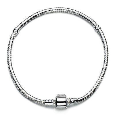 3MM Snap Clasp Snake Chain Bracelet for European 925 Sterling Silver Charms