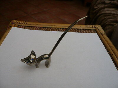 Rare Type Vintage Retro 1970,s Stylised Art Deco Cat Silver Plated Ring Holder