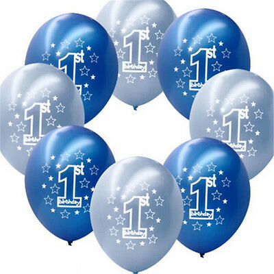 "10X Pink Girl's Blue Boy 1st Birthday Party 11"" Pearlised Latex Printed Balloons"