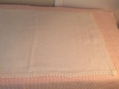 Table Scarf/Runner Nice Linen With Crochet Lace   #22D