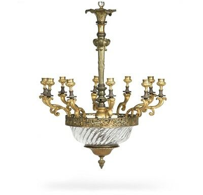 French Antique Bronze and Glass Candelabra Chandelier Hanging Ceiling Lamp