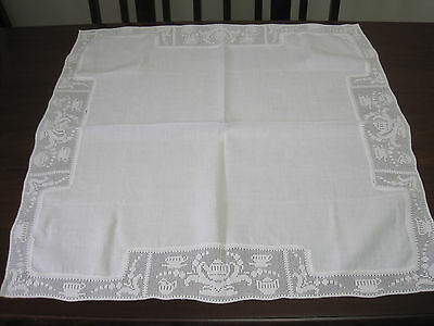 Lovely Hand Worked Tea Time Filet Crochet Lace Edged Pure Linen Tablecloth