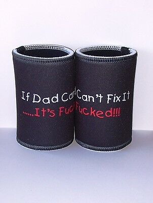 Fathers Day or Birthday  - Stubby Holder x 2 - Black