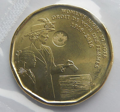 "2016 Canada 1 Dollar "" Women's Right to Vote"" Uncirculated Coin BU Mint SB4830"