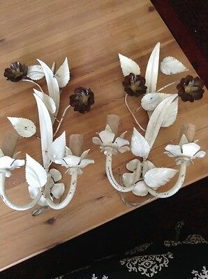 A Pair Of Vintage French Shabby Chic  Floral Toleware Wall Light