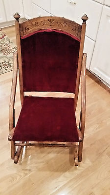 Vintage Folding Rocking Chair W/burgandy Velour Seat And Back