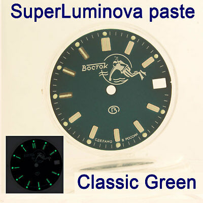 Watches-Parts: Hand Painted Superlumia  059 Dial Vostok Amphibia Green Blue Lume