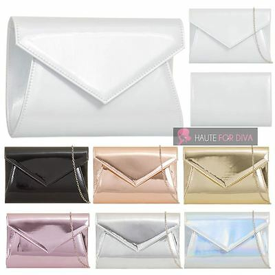 Ladies New Patent Holographic Chain Strap Prom Bridal Clutch Bag Handbag