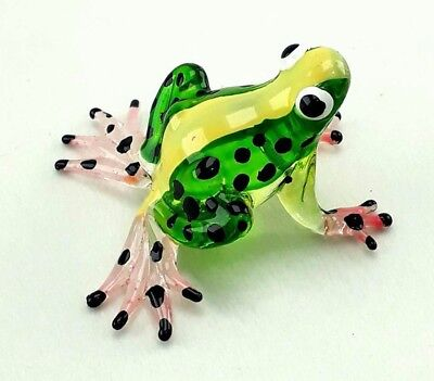 Hand Blown Glass Miniature frogs Figurine Animal Clear Art Glass collectibles