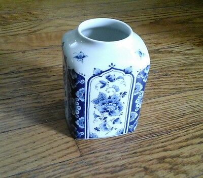 Vintage Delft Westraven Handmade Vase Blue White Made In Holland