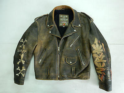 Energy Vintage Jacket Giacca Pelle Leather Motorcycle Aviator