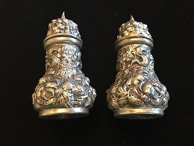 Antique REPOUSSE STEIFF ROSE Set Salt Pepper Shakers STERLING SILVER 925