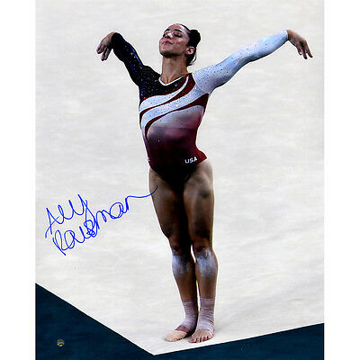 US Olympic Gold Medal Gymnast Aly Raisman Signed In Corner 16x20 Photo Steiner