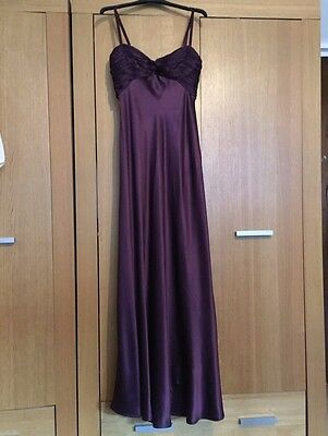 Coast Silk Ruched Maxi Prom Dress Size 6 8 10 Small Purple Plum Grape Maroon