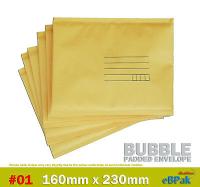Bubble Mailer #01 160x230mm - Yellow - Padded Bag Envelope 50 / 200 / 500