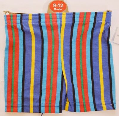 NEW Baby Boys Blue Red Yellow Green Stripey Shorts Age 9-12 12-18 Months (A66)