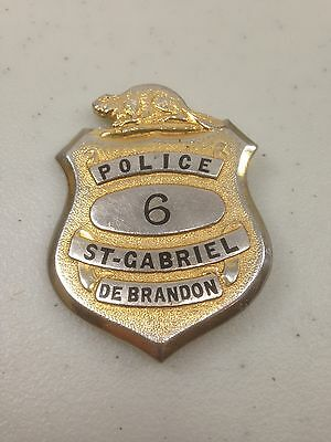 Awesome vintage Authentic real police hat badge Saint-Gabriel de Brandon 1950's