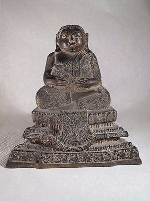 Antique 19Thc Thai Bronze Seated Buddha Statue